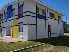 One view of building painted like a Mondrian