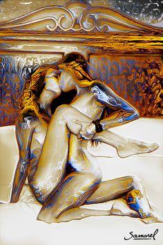 Lesbian love in bed ~ erotic art by Samarel.
