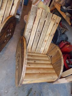 Rustic patio chair. Made from old cable spool.                                                                                                                                                     More