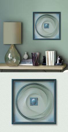 Wall Art in Pastel Turquoise Green Blue 3D Zen by FeniksArtDeco