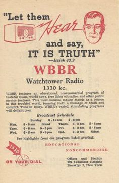 wbbr - watchtower radio stations reached more than 50,000 with bible truth.