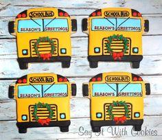 School Bus Christmas cookies.  Bus driver gift cookies.  Hand decorated shortbread cookies.