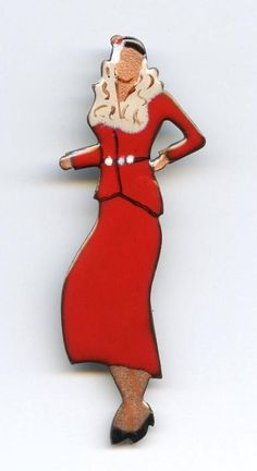 "1970s Enamel on Copper Large 3"" Art Deco Fashion Model Lady 2 Pc Suit Brooch Pin #Unbranded"