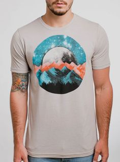 The Mountains - Multicolor on Heather Silver Mens T Shirt - Curbside Clothing