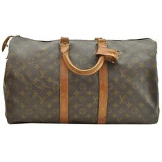 Pre-owned Louis Vuitton Monogram Keepall 45 Boston Old Model Lv 16878... ($340) ❤ liked on Polyvore featuring bags, luggage and none