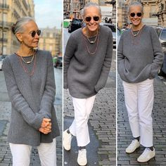 Linda Wright :This thick ribbed sweater is a little long and a little loose. I love It over my silk pants, a long silk skirt or.yes, over a white Over 60 Fashion, Fashion Over 50, Mode Outfits, Casual Outfits, Fashion Outfits, Long Silk Skirt, Mode Ab 50, Clothes For Women Over 50, Older Women Fashion