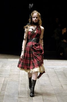Tartan dress and tulle underskirt, Alexander McQueen, The Widows of Culloden, A/W06