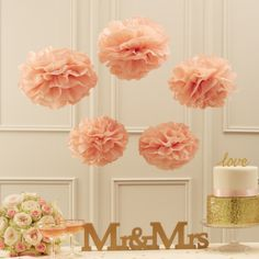Pastel Pink Tissue Paper Pom Poms - Fill your room with some pastel perfection with these pale pink paper pom poms! Each pack contains five pom poms, 3 x large and 2 x small. Wedding Flower Decorations, Baby Shower Decorations, Wedding Flowers, Decoration Party, Hanging Decorations, Wedding Themes, Wedding Ideas, Pom Pom Flowers, Tissue Paper Flowers