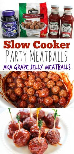 Slow Cooker Party Meatballs Recipe — Also known as Grape Jelly Meatballs, this appetizer is easy to prepare in a Crock Pot and feeds a crowd! The sauce is the perfect blend of sweet & tangy.