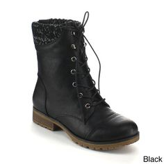 Refresh Women's 'Wynne-06' Ribbed Cuff Mid-Calf Combat Boots | Overstock.com Shopping - The Best Deals on Boots