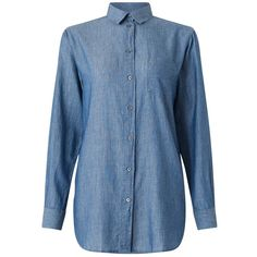 Jigsaw Chambray Shirt, Blue ($120) ❤ liked on Polyvore featuring tops, chambray top, chambray shirt, collared shirt, loose fitting tops and ruched sleeve top