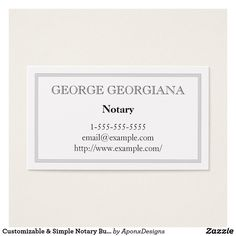 Customizable & Simple Notary Business Card