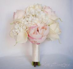 Ivory and Blush Wedding Bouquet Peony Hydrangea by KateSaidYes, $145.00