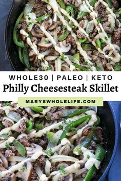 This Whole30 & Keto Philly cheesesteak Skillet is packed with seasoned ground beef, veggies, and a dairy free cheese sauce! Feel free to use regular cheese for just Keto. It comes together in 20 minutes or less! #whole30 #whole30recipes #januarywhole30 #ketorecipes #lowcarb #keto #phillycheesesteak #cheesesteakskillet #glutenfree #dairyfree #grainfree Paleo Whole 30, Whole 30 Recipes, Whole Food Recipes, Beet Recipes, Healthy Recipes, Paleo Meals, Healthy Eats, Healthy Dishes, Food Dishes