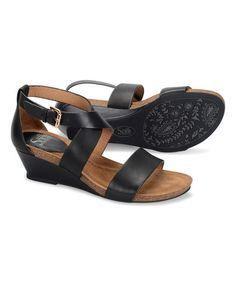 Look at this #zulilyfind! Black Vita Leather Sandal #zulilyfinds