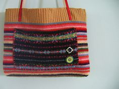 Nubbly warm crocheted (or knitted?) felted purse by crafter Alicia Paulson of Posie Gets Cozy.