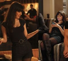 Zooeys black outfit from Valentines day episode of New Girl; high waisted shorts