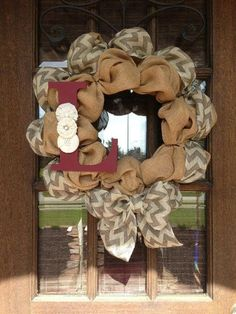 Burlap Wreath with Initial | Chevron Burlap Initial Wreath by AmericanHoney2012 on Etsy by amalia