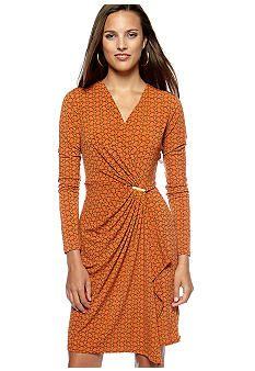 MICHAEL Michael Kors Long Sleeve Wrap Dress #belk #patterns
