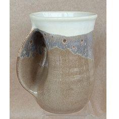 A Unique Gift Idea from ArtCraftGifts - Handmade pottery hand warmer mug left handed - desert sand