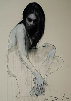"""Mark Demsteader - """"Kate Seated 2."""" Fascinating drawings using pastel and collage. He has a wonderful feel for line. I'm... completely jealous."""