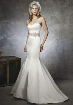 Justin Alexander 8659. Silhouette: Mermaid. Neckline: Sweetheart. Train Style: Attached. Train Length: Chapel. Fabric: Satin