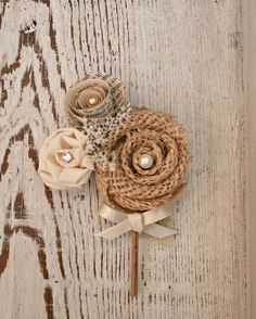 Groom's Boutonniere - Natural Burlap, Fabric, and Vintage Book Page Rosette - Rustic, Autumn Colors, Dried Flowers, Ivory, Cream, Wedding