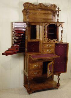 Antique Quartersawn Oak Princess Vanity Dresser 2 Drawers