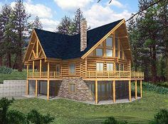 Entertaining down, eating mid, owners up Plan 35113GH: Log Home with Majestic Views
