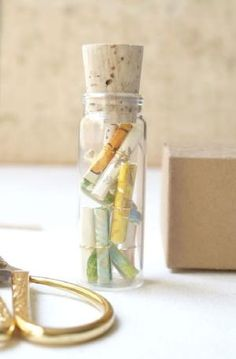Tiny Note Messages in A Bottle by homemadediycrafts