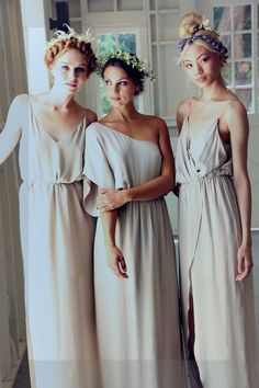 Love these greige simple bridesmaid sheath dresses