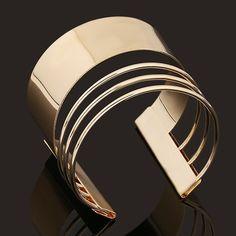 #fashion #accessories Midi High Polished Cuff Bracelet   Golden by Moda Tendone - Bracelets Accessories, Bracelets, Fashionable, Golden, Jewelry, Women