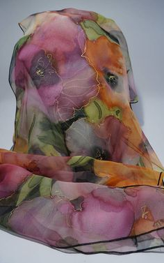 Shawl chiffon silk hand painted flowered chiffon scarf silk