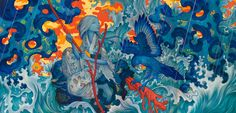 "Adrift, Mixed Media on Four Canvases, 180 x 88"", 2015. James Jean"