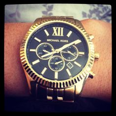 Gold MK watch, black face <3