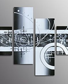 Muzagroo Art Oil Painting Black and White Abstract Art on Canvas Hand Painted Wall Decor for Dining Room M – Wall's Furniture & Decor Oil Painting Abstract, Abstract Canvas, Canvas Art, Jesus Painting, Hand Painted Walls, Black And White Abstract, Nature Paintings, Room Paint, Art Pages