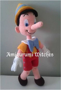 Welcome to AmigurumiWitches Pattern Store This listing is a crochet amigurumi pattern, NOT the finished toy. - Pattern includes only Pinocchio doll pattern - Finished size of the doll: approx. 30 cm - This pattern is a pdf file with detailed instructions and photos. - Ready to
