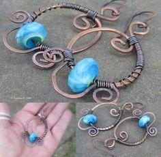 Copper Metalwork Dangle Earrings, Wire Wrapped Scrollwork... Statement Jewelry. $46.00, via Etsy.