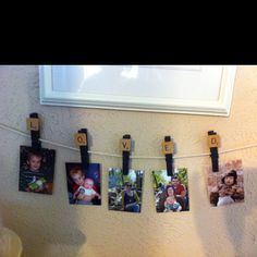 Cute way to display wallet size photos!!