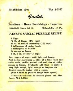 Lots of different flavors including ginger on this page //Grandma Fante's 1960 Pizzelle Recipe Retro Recipes, Old Recipes, Vintage Recipes, Cookie Recipes, Recipies, Pizzelle Cookies, No Bake Cookies, Yummy Cookies, Pizzelle Maker