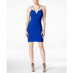 Guess Sweetheart-Neck Scuba Bodycon Dress ($118) ❤ liked on Polyvore featuring dresses, blue, bodycon party dresses, party dresses, white day dress, blue dress and sweetheart dress