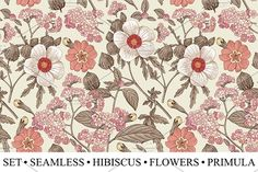 Set Seamless #Flowers Hibiscus - #Illustrations