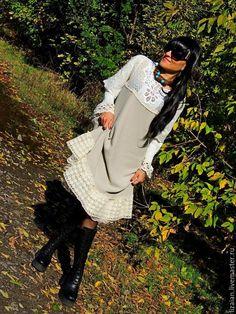 Купить Ажурное БОХО платье из хлопка и льна с кружевом (№201) - платье бохо, стиль бохо