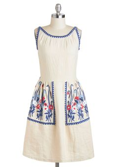 First Flowers Dress - Cream, Blue, Solid, Embroidery, Casual, A-line, Sleeveless, Spring, Long, Red, Pockets, Vintage Inspired, Boat
