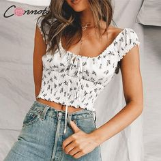 Conmoto 2019 Summer Casual Floral Print White Women Crop Tops and Blouse Female Low Neck Lace up Shirt Girl Fashion Streetwear Shirts For Girls, T Shirts, Laced Up Shirt, White Women, Streetwear Fashion, Outfit Of The Day, Girl Fashion, Street Wear, Camisole Top
