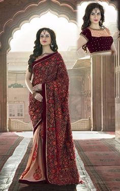 Ravishing Brick Red and Peach Puff Premium Designer Saree