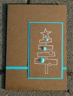 elke's blog.  I love this card!  I like cards that aren't the norm/ expected.  This tree is cool and simple.  Also love the kraft paper and the aqua blue.