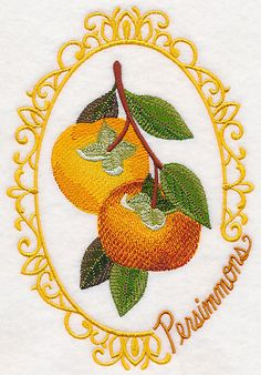 Fruit Cameo - PersimmonsProduct ID: M4033 M4034 M4035 M4036 M4037 Size:5 sizes Color Changes:12 Stitches:39852Colors Used:11