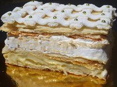 Pastel Napoleón de hojaldre, merengue, crema y glasa con KitchenAid