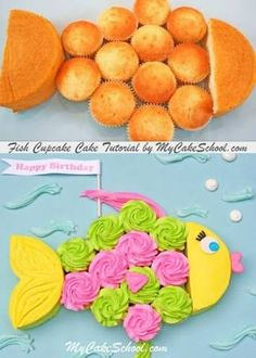 cupcake cakes CUTE Fish Cupcake Cake Tutorial by ! Perfect for kids' pool or beach themed parties! This pull apart cupcake cake design would be perfect for beach parties, luau themes and pool parties! So simple to create! Pull Apart Cupcake Cake, Pull Apart Cake, Fun Cupcakes, Cupcake Cakes, Ladybug Cupcakes, Kitty Cupcakes, Snowman Cupcakes, Giant Cupcakes, Cupcake Ideas